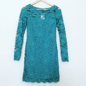 H&M teal green long sleeve lace dress
